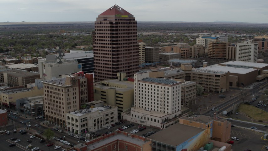 5.7K stock footage aerial video fly toward Albuquerque Plaza and other city buildings, Downtown Albuquerque, New Mexico Aerial Stock Footage | DX0002_127_012