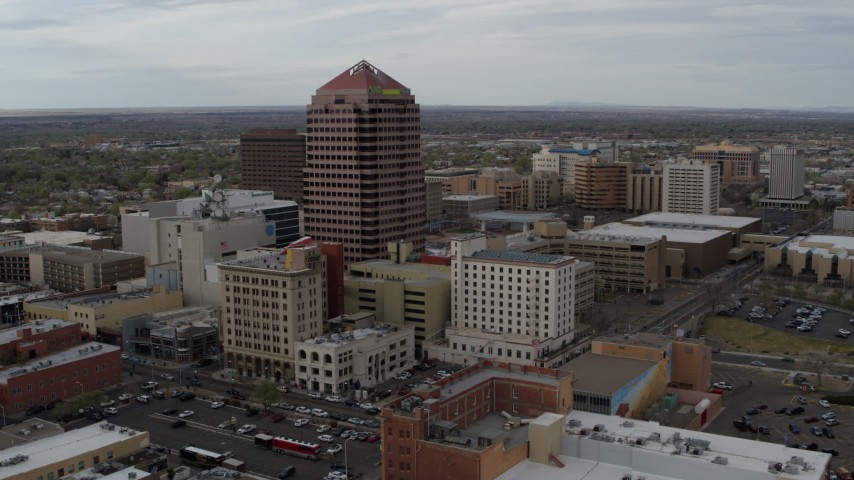 5.7K stock footage aerial video reverse view and orbit or Albuquerque Plaza, city buildings, Downtown Albuquerque, New Mexico Aerial Stock Footage | DX0002_127_014