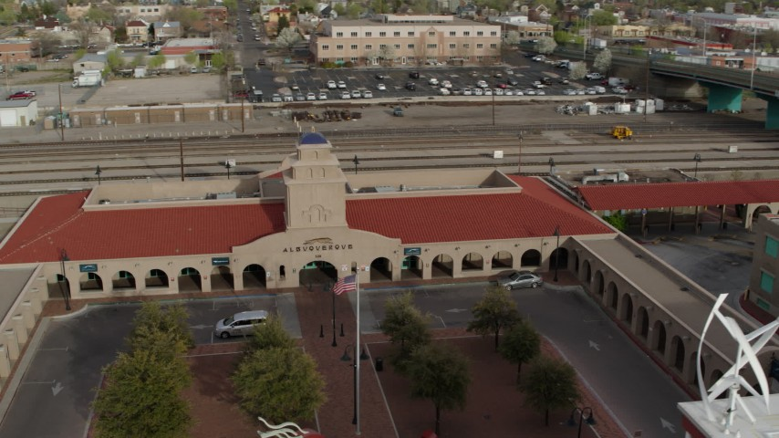 5.7K stock footage aerial video of orbiting the Albuquerque train station, Downtown Albuquerque, New Mexico Aerial Stock Footage | DX0002_127_017
