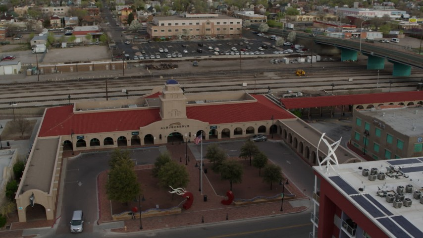 5.7K stock footage aerial video of an orbit of the entrance of the Albuquerque train station, Downtown Albuquerque, New Mexico Aerial Stock Footage   DX0002_127_020