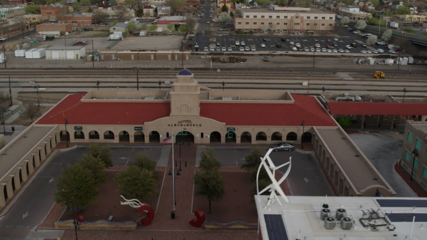 5.7K stock footage aerial video of the entrance of the Albuquerque train station, Downtown Albuquerque, New Mexico Aerial Stock Footage | DX0002_127_021