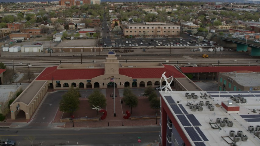 5.7K stock footage aerial video approach the entrance of the Albuquerque train station, Downtown Albuquerque, New Mexico Aerial Stock Footage | DX0002_127_024