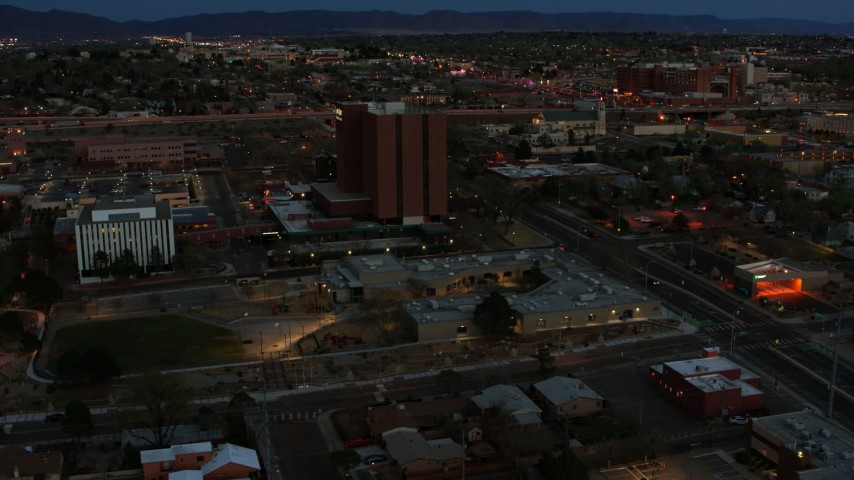 5.7K stock footage aerial video orbit medical center at twilight, Albuquerque, New Mexico Aerial Stock Footage | DX0002_128_017