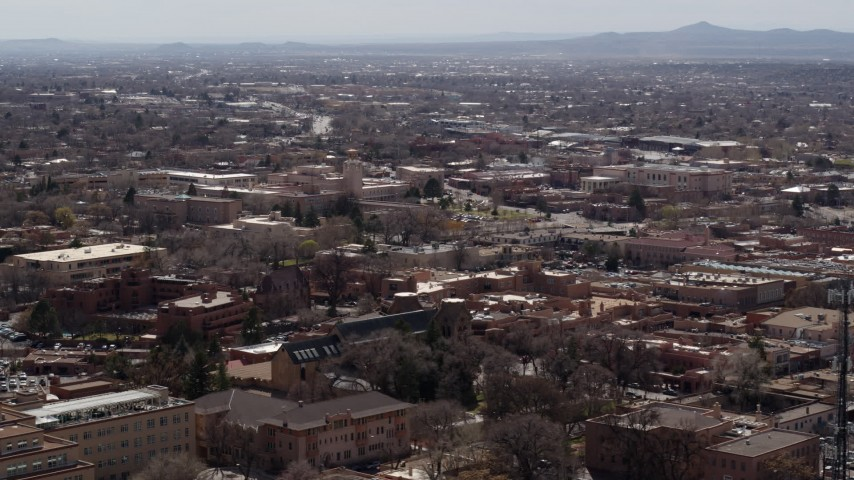 5.7K stock footage aerial video flying by the downtown area of the city of Santa Fe, New Mexico Aerial Stock Footage | DX0002_129_027