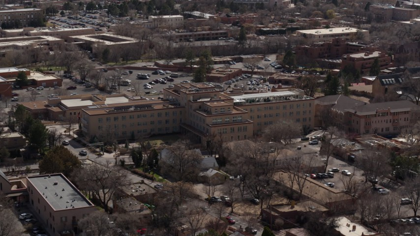 5.7K stock footage aerial video orbiting a hotel in the city's downtown area, Santa Fe, New Mexico Aerial Stock Footage   DX0002_129_035