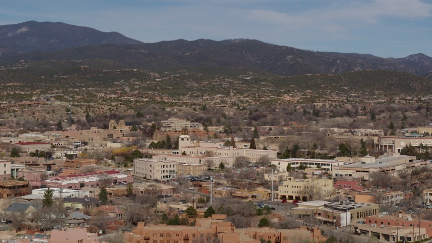 5.7K stock footage aerial video stationary view of state government buildings near capitol building, Santa Fe, New Mexico Aerial Stock Footage | DX0002_129_042