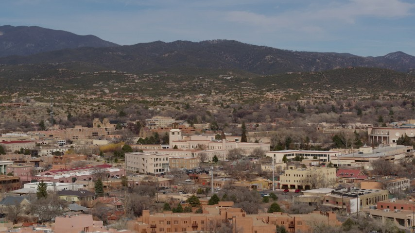 5.7K stock footage aerial video of Bataan Memorial Building near capitol building, Santa Fe, New Mexico Aerial Stock Footage | DX0002_129_043
