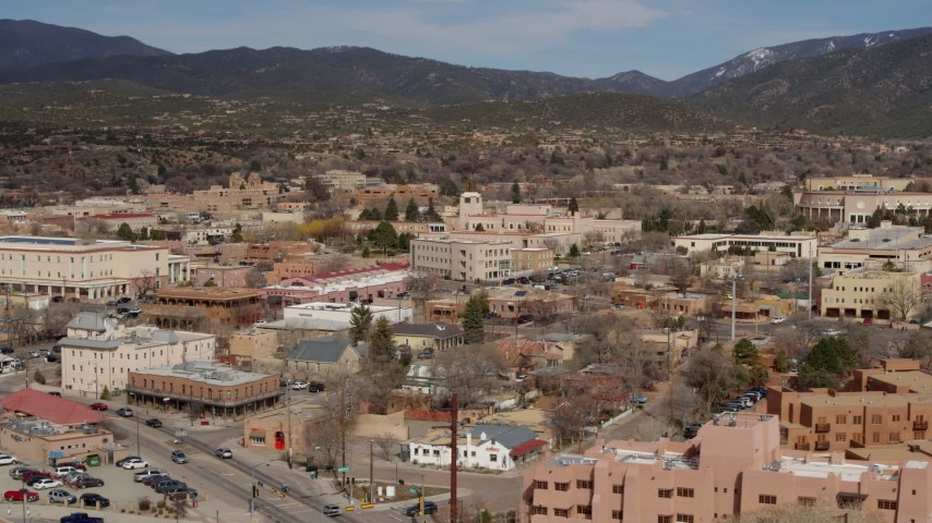 5.7K stock footage aerial video shops and state government buildings near capitol, Santa Fe, New Mexico Aerial Stock Footage | DX0002_130_002