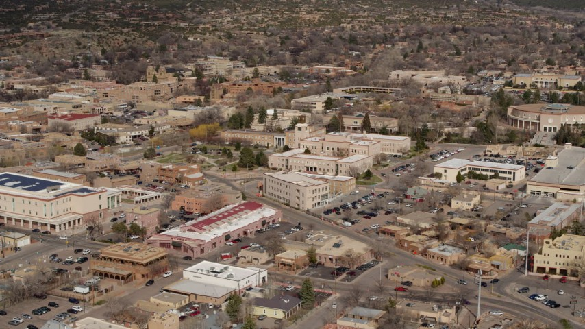 5.7K stock footage aerial video ascend for view of Bataan Memorial Building near capitol, Santa Fe, New Mexico Aerial Stock Footage | DX0002_130_003