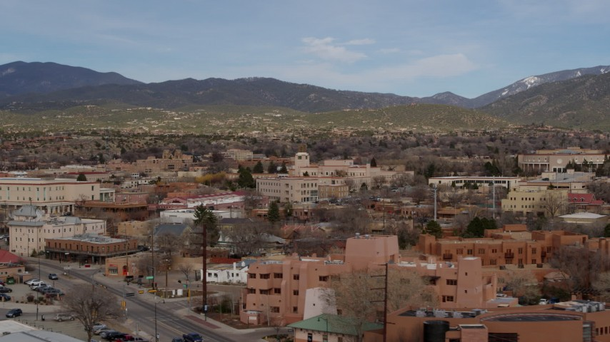5.7K stock footage aerial video of flying by shops and downtown buildings in Santa Fe, New Mexico Aerial Stock Footage | DX0002_130_012