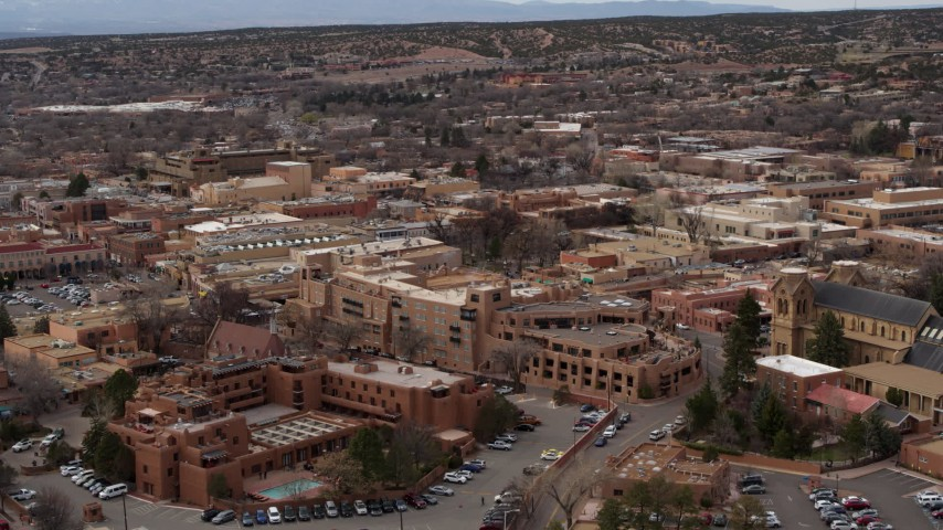 5.7K stock footage aerial video of flying by two hotels in Santa Fe, New Mexico Aerial Stock Footage | DX0002_130_025