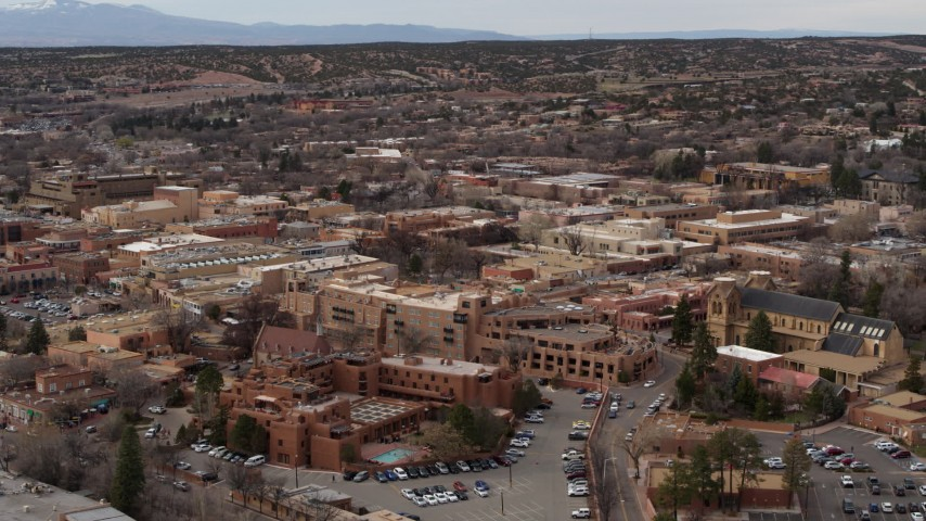 5.7K stock footage aerial video of orbiting two hotels in Santa Fe, New Mexico Aerial Stock Footage | DX0002_130_027