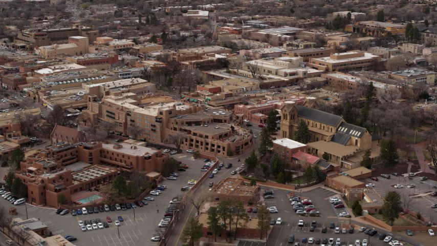 5.7K stock footage aerial video of orbiting two hotels and cathedral in Santa Fe, New Mexico Aerial Stock Footage   DX0002_130_028