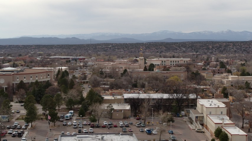 5.7K stock footage aerial video of the Bataan Memorial Building in Santa Fe, New Mexico Aerial Stock Footage | DX0002_130_042