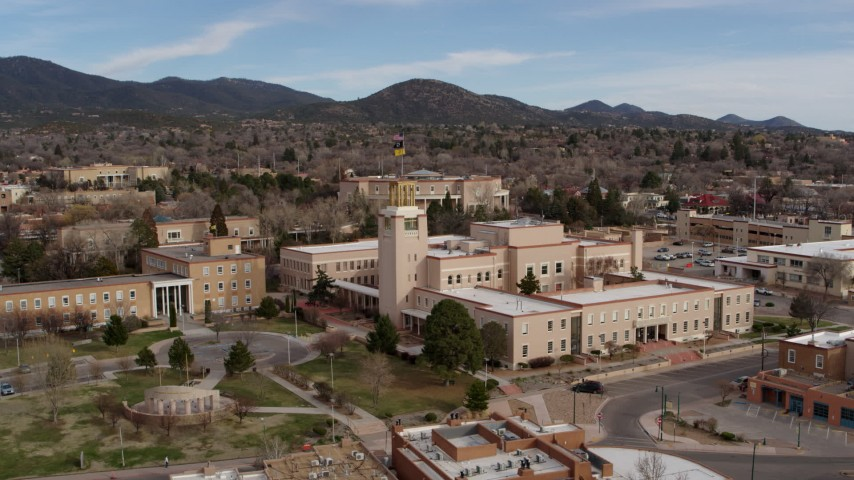 5.7K stock footage aerial video of closely orbiting the Bataan Memorial Building in Santa Fe, New Mexico Aerial Stock Footage | DX0002_131_001
