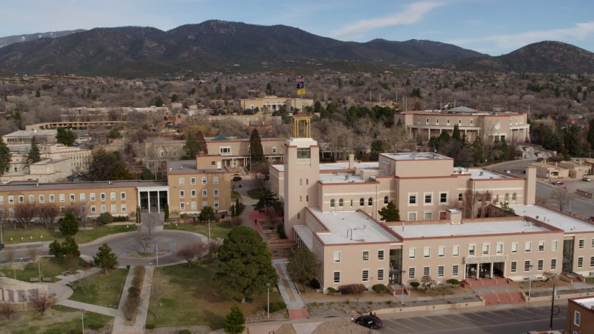 5.7K stock footage aerial video of a close orbit of the Bataan Memorial Building in Santa Fe, New Mexico Aerial Stock Footage | DX0002_131_002