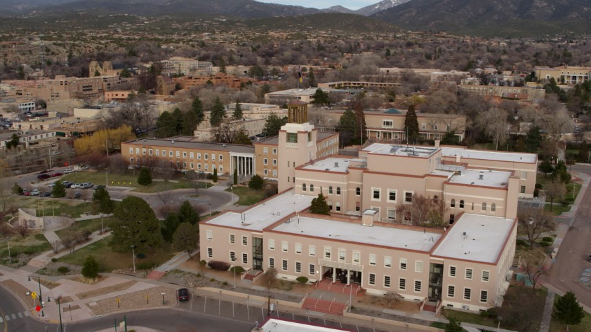 5.7K stock footage aerial video orbit and fly away from the Bataan Memorial Building, Santa Fe, New Mexico Aerial Stock Footage | DX0002_131_007