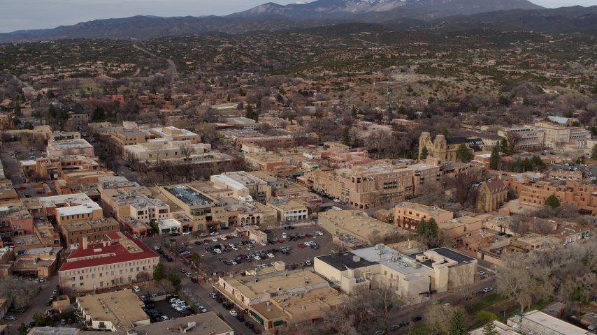 5.7K stock footage aerial video of orbiting the downtown area of Santa Fe, New Mexico Aerial Stock Footage | DX0002_131_009