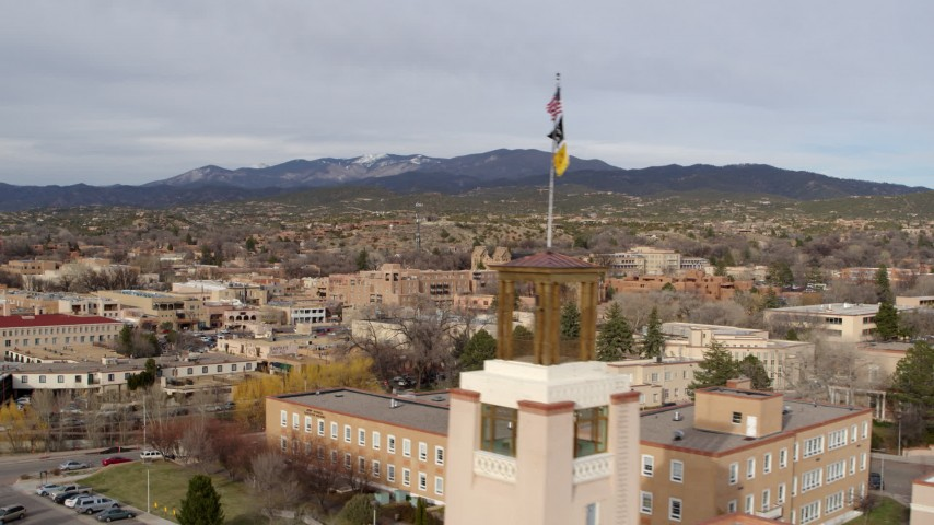 5.7K stock footage aerial video flyby downtown to reveal Bataan Memorial Building, Santa Fe, New Mexico Aerial Stock Footage | DX0002_131_019