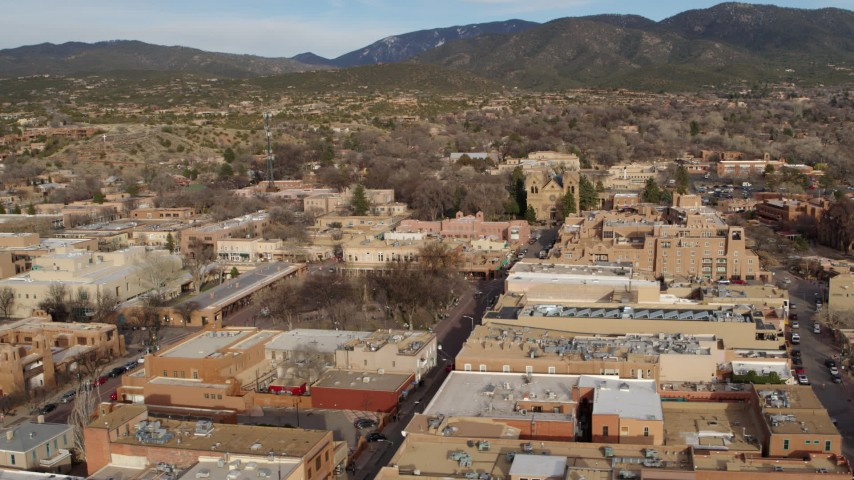 5.7K stock footage aerial video of orbiting Santa Fe Plaza with a view of the cathedral, Santa Fe, New Mexico Aerial Stock Footage | DX0002_131_021