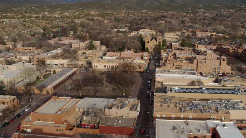 5.7K stock footage aerial video approach Santa Fe Plaza and cathedral in Santa Fe, New Mexico Aerial Stock Footage | DX0002_131_027