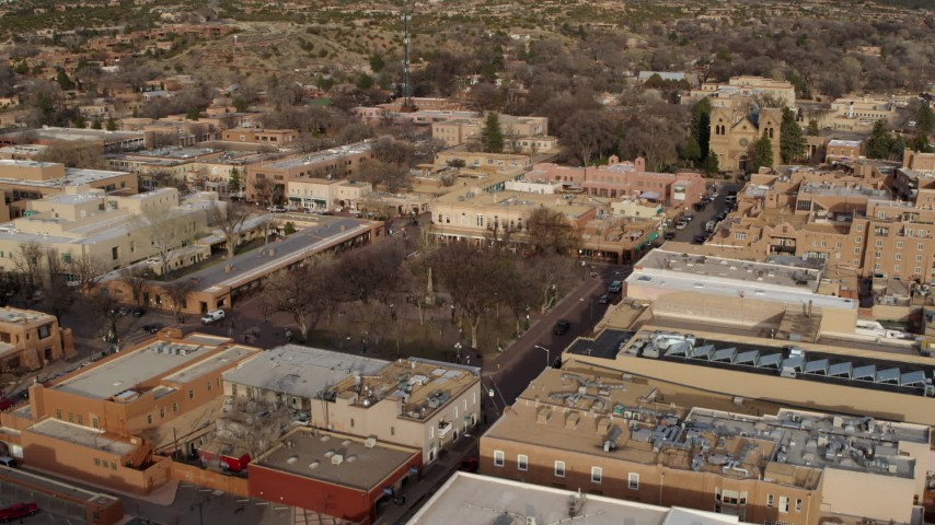 5.7K stock footage aerial video of a reverse view of Santa Fe Plaza in Santa Fe, New Mexico Aerial Stock Footage | DX0002_131_029