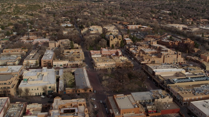 5.7K stock footage aerial video orbit Santa Fe Plaza with view of cathedral in Santa Fe, New Mexico Aerial Stock Footage | DX0002_131_031