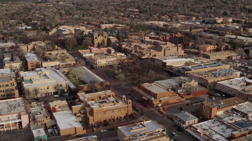 5.7K stock footage aerial video orbit Santa Fe Plaza near the cathedral in Santa Fe, New Mexico Aerial Stock Footage | DX0002_131_032