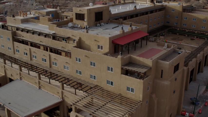 5.7K stock footage aerial video approach and orbit the Eldorado Hotel & Spa hotel, Santa Fe, New Mexico Aerial Stock Footage | DX0002_131_037