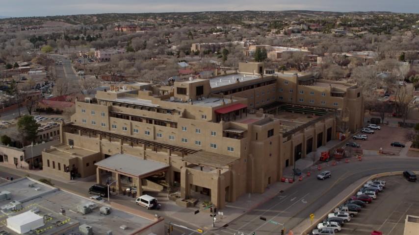 5.7K stock footage aerial video a reverse view of the Eldorado Hotel & Spa hotel, Santa Fe, New Mexico Aerial Stock Footage   DX0002_131_040