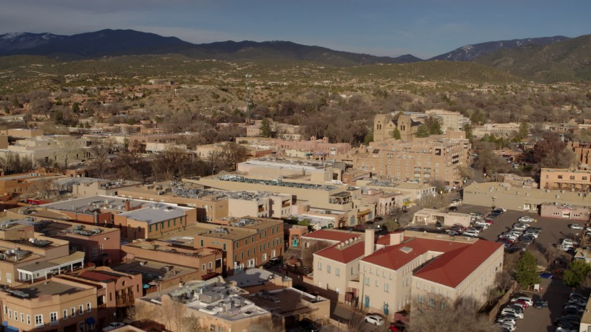5.7K stock footage aerial video flyby rooftops in downtown, Santa Fe, New Mexico Aerial Stock Footage | DX0002_132_001