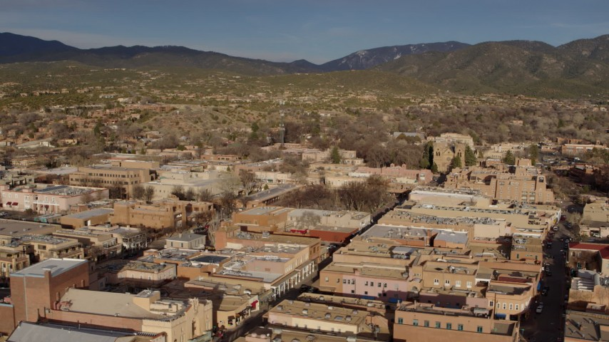 5.7K stock footage aerial video flyby downtown buildings around Santa Fe Plaza, Santa Fe, New Mexico Aerial Stock Footage | DX0002_132_002