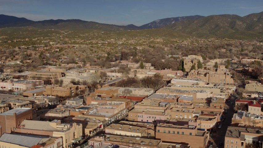 5.7K stock footage aerial video flyby and away from downtown buildings around Santa Fe Plaza, Santa Fe, New Mexico Aerial Stock Footage | DX0002_132_003