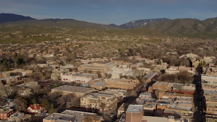 5.7K stock footage aerial video slowly passing by downtown buildings, Santa Fe, New Mexico Aerial Stock Footage | DX0002_132_007