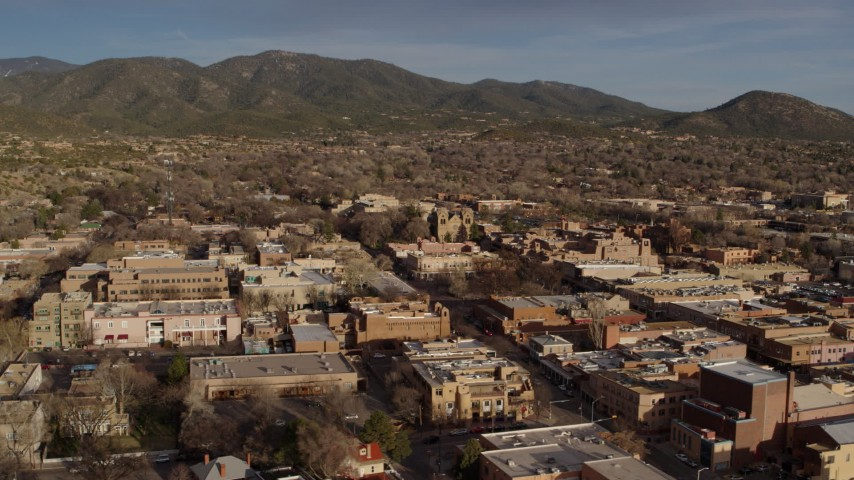 5.7K stock footage aerial video of an orbit of the downtown area of Santa Fe, New Mexico Aerial Stock Footage   DX0002_132_011