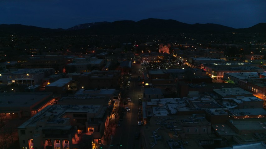 5.7K stock footage aerial video of downtown lit up at night, Santa Fe, New Mexico Aerial Stock Footage | DX0002_132_015