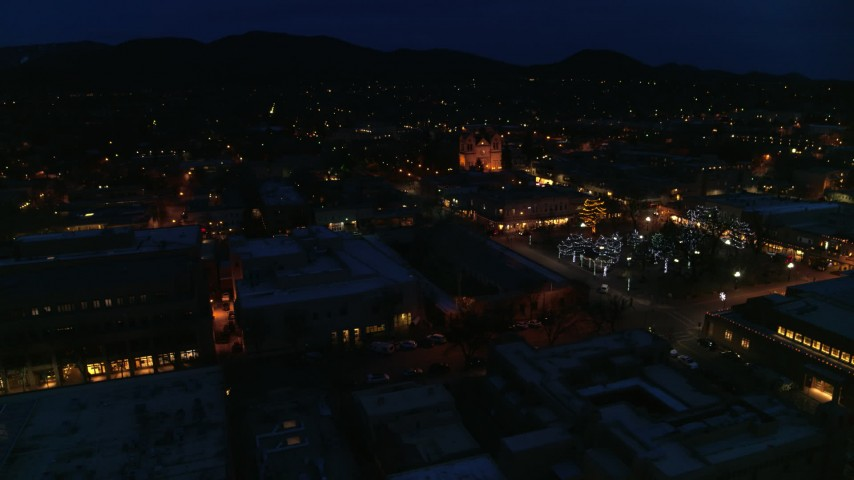 5.7K stock footage aerial video view of cathedral at night while circling Santa Fe Plaza, Santa Fe, New Mexico Aerial Stock Footage | DX0002_132_020