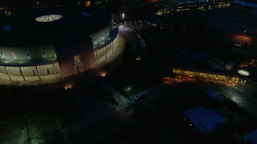 5.7K stock footage aerial video approach and orbit the New Mexico State Capitol at night, Santa Fe, New Mexico Aerial Stock Footage   DX0002_132_022