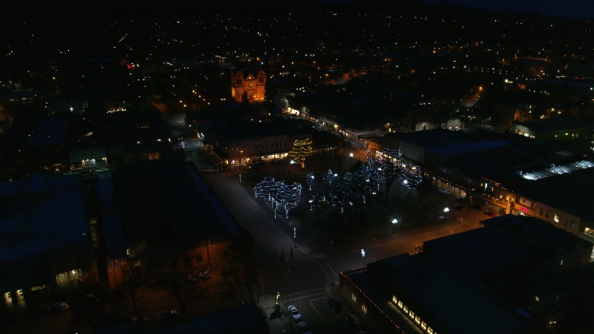 5.7K stock footage aerial video approach and orbit Santa Fe Plaza near the cathedral at night, Santa Fe, New Mexico Aerial Stock Footage | DX0002_132_028