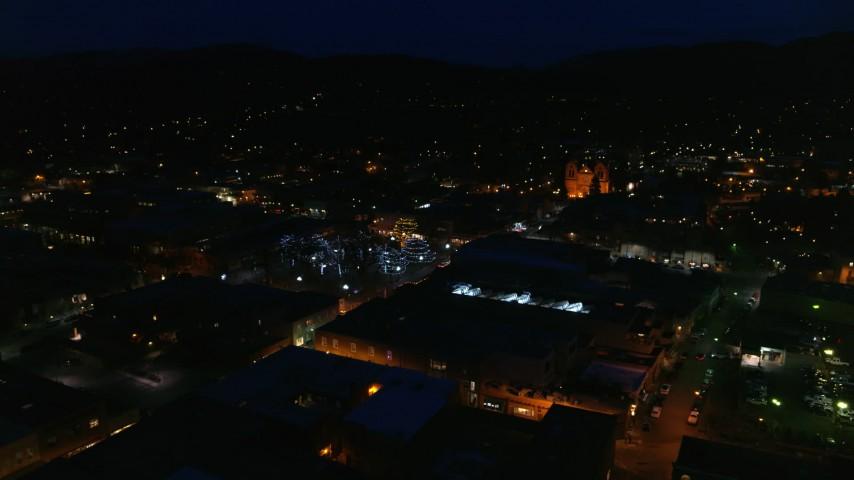 5.7K stock footage aerial video flying toward Santa Fe Plaza near the cathedral at night, Santa Fe, New Mexico Aerial Stock Footage | DX0002_132_030