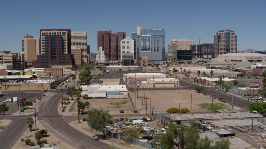 5.7K stock footage aerial video of high-rise office buildings while passing 1st and Central Avenues, Downtown Phoenix, Arizona Aerial Stock Footage | DX0002_136_033