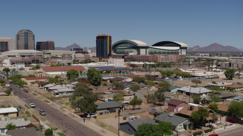 5.7K stock footage aerial video of a view of a condominium complex and baseball stadium, Downtown Phoenix, Arizona Aerial Stock Footage | DX0002_136_036