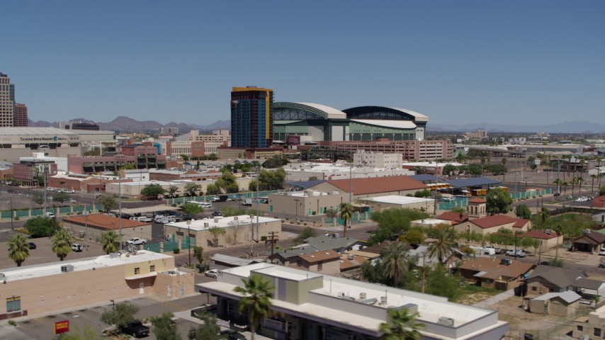 5.7K stock footage aerial video of condominium complex and baseball stadium, Downtown Phoenix, Arizona Aerial Stock Footage | DX0002_136_038