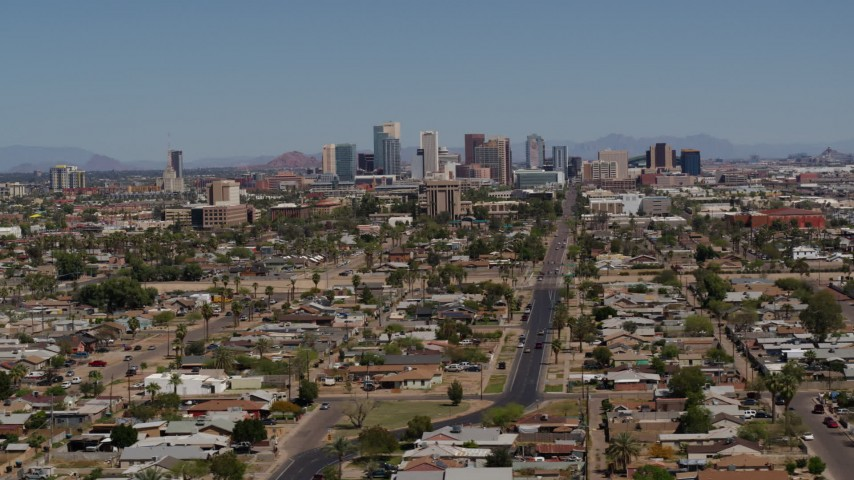5.7K stock footage aerial video of a wide view of the city's skyline in Downtown Phoenix, Arizona Aerial Stock Footage | DX0002_136_047