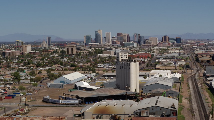 5.7K stock footage aerial video of a wide view of the city's skyline, reveal grain elevator in Downtown Phoenix, Arizona Aerial Stock Footage | DX0002_136_048