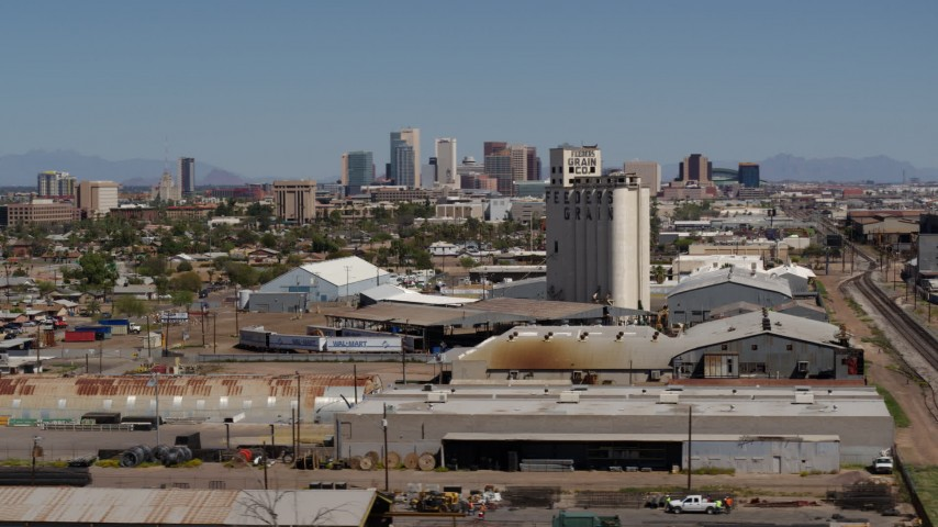 5.7K stock footage aerial video of the city's skyline seen from a grain elevator in Downtown Phoenix, Arizona Aerial Stock Footage | DX0002_136_049