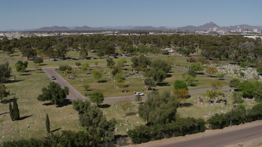 5.7K stock footage aerial video of flying by a cemetery in Phoenix, Arizona Aerial Stock Footage | DX0002_137_016