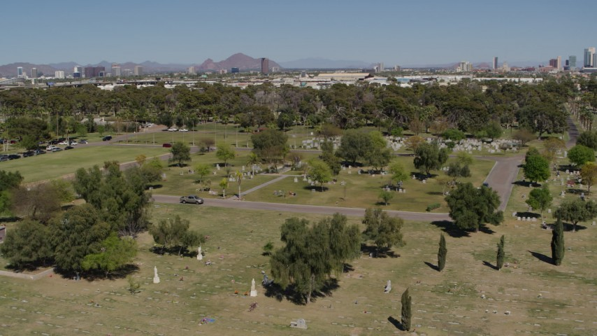 5.7K stock footage aerial video of an orbit of graves at a cemetery in Phoenix, Arizona Aerial Stock Footage | DX0002_137_023