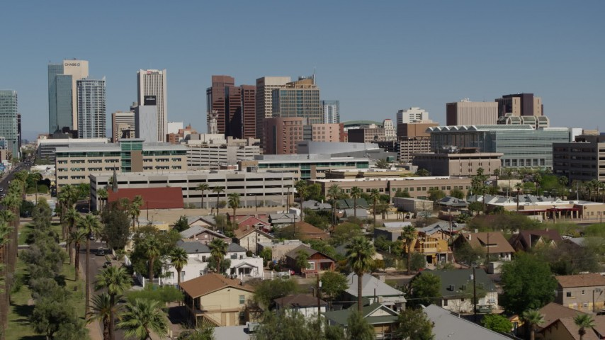 5.7K stock footage aerial video approaching high-rise office buildings in Downtown Phoenix, Arizona Aerial Stock Footage | DX0002_137_028