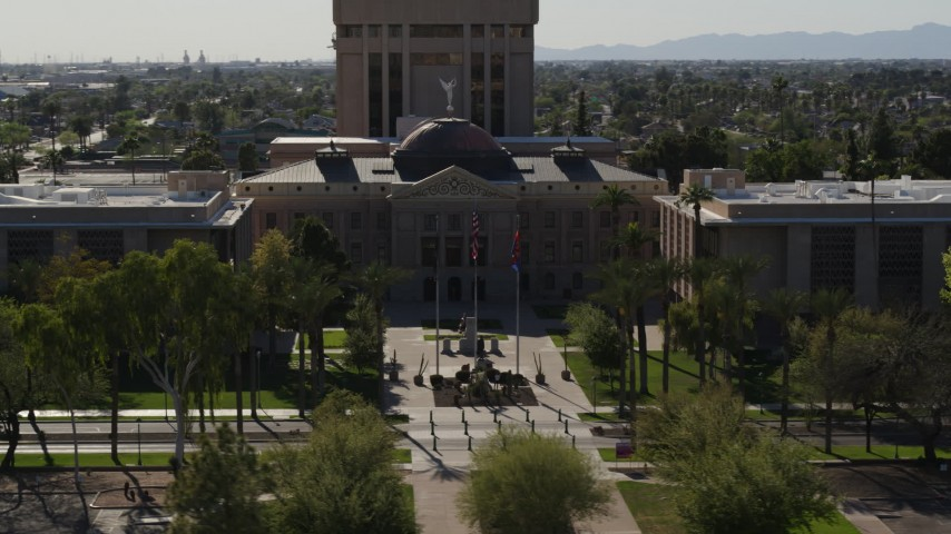 5.7K stock footage aerial video of orbiting the front of Arizona State Capitol building in Phoenix, Arizona Aerial Stock Footage | DX0002_137_056